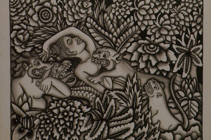 Pengorbanan Sutasoma, lukisan karya I Made Soekaria pada  1937, periode Pitamaha. Media tinta di atas kertas.