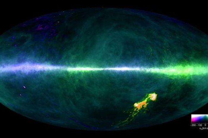Peta galaksi Bimasakti ini dibuat dengan menggunakan data dari teleskop radio Max Planck di Jerman d