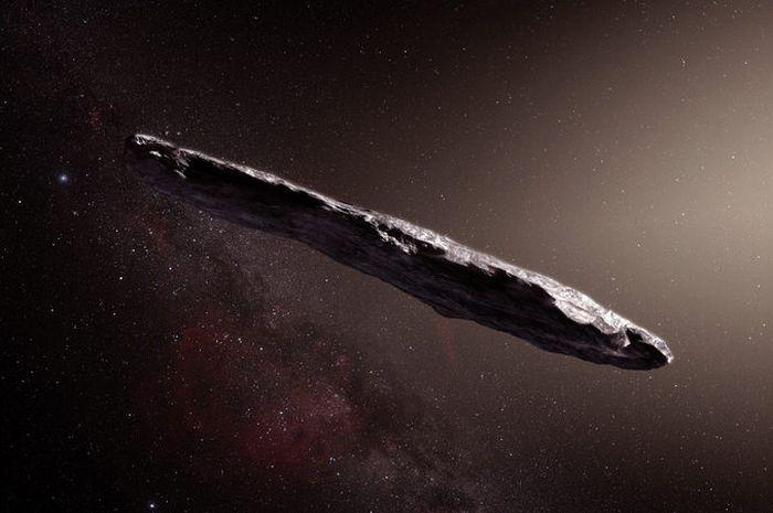 Ilustrasi ini menunjukkan asteroid antar bintang pertama yang diberi nama 1I / 2017 U1 (\'Oumuamua).