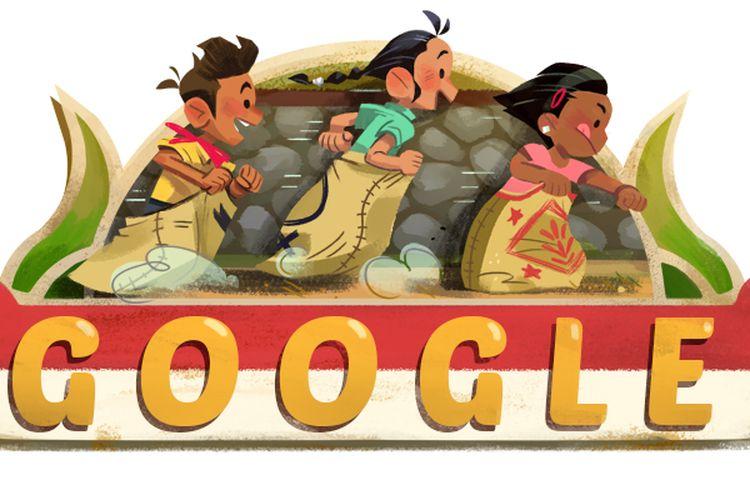 Google Doodle Rayakan HUT RI ke-73 dengan Tampilkan Lomba Balap Karung