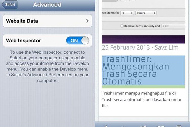 Cara Inspeksi Halaman Website di iOS Melalui Web Inspector