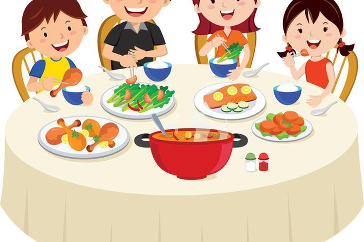 50 Gambar Kartun Makan Bareng