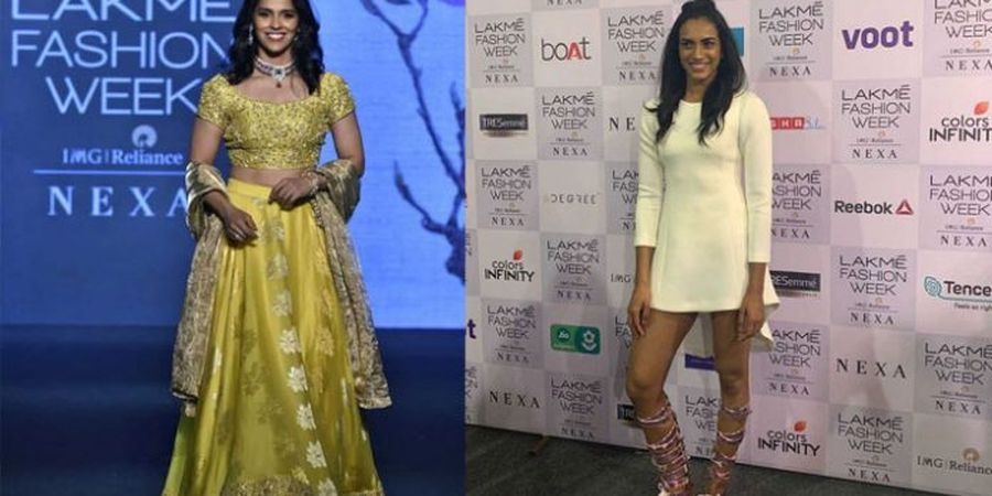 Mengintip Nehwal dan Sindhu Jadi Model Sehari di India Fashion Week