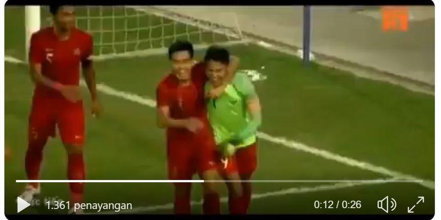 VIDEO - Aksi Memukau Dimas Drajad Saat Jadi Kiper Dadakan Timnas U-23 Indonesia Lawan Brunei