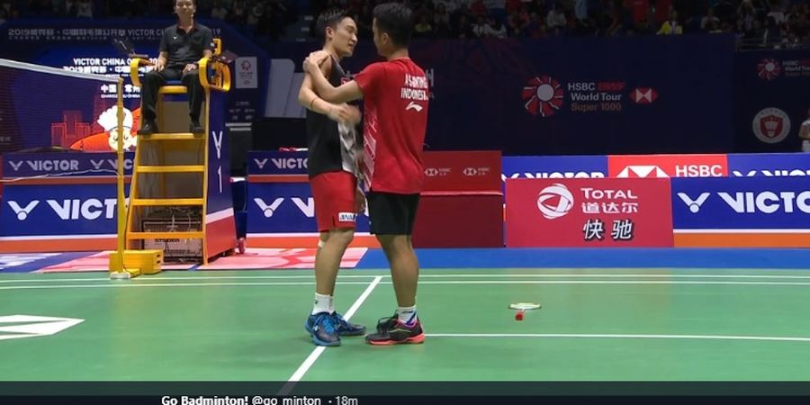 Final China Open 2019 - Respek, Momota Ajak Anthony Tukar Kaus Setelah Lakoni Duel Sengit
