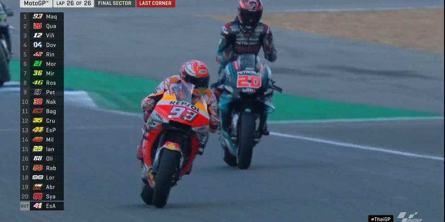 VIDEO MotoGP Thailand 2019 - DIsalip Marquez di Tikungan Terakhir, Quartararo Marah-marah ke Diri Sendiri
