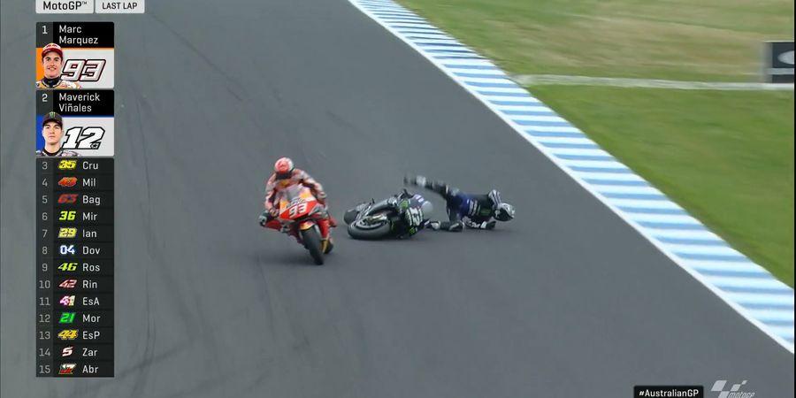 Hasil MotoGP Australia 2019 - Maverick Vinales Crash Saat Berduel dengan Marc Marquez di Tikungan Terakhir!