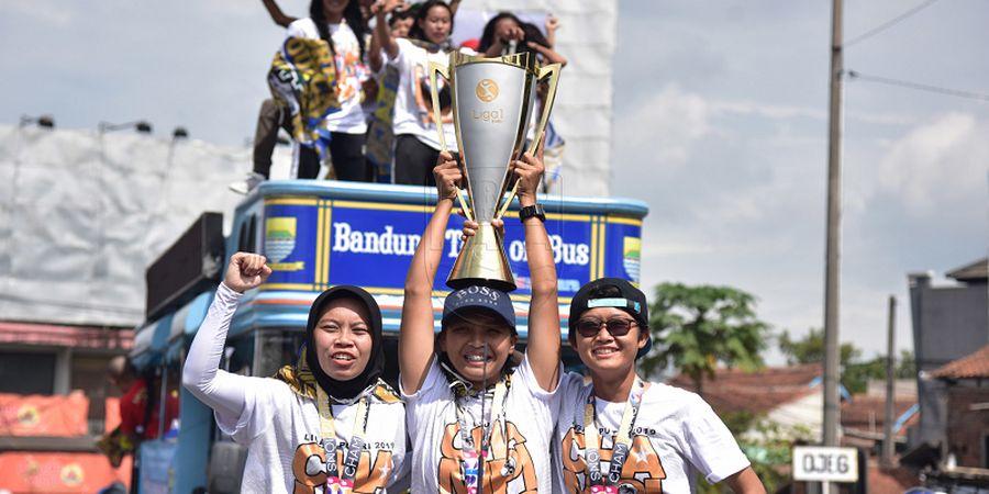 Persib Juara Liga 1 Putri, Ribuan Bobotoh Padati Jalan di Bandung