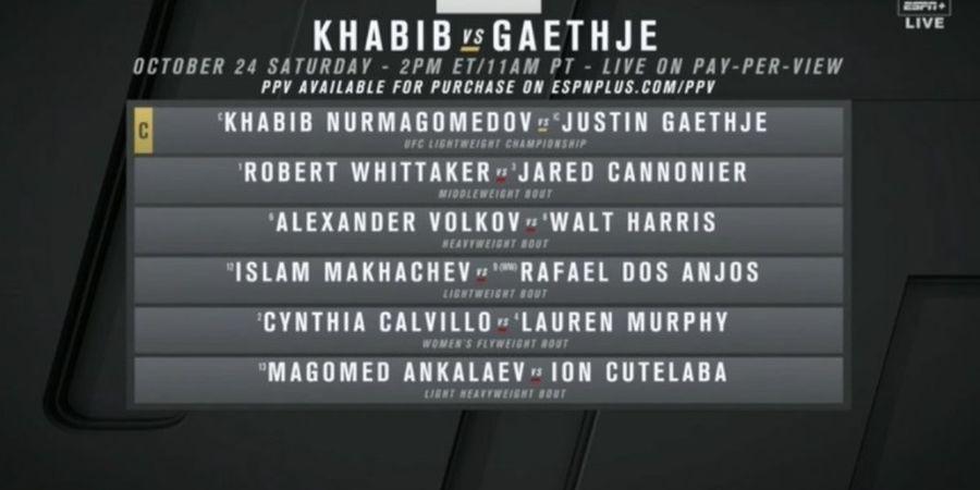 Duel Khabib Nurmagomedov vs Justin Gaethje di UFC 254 Mungkin Pakai Penonton