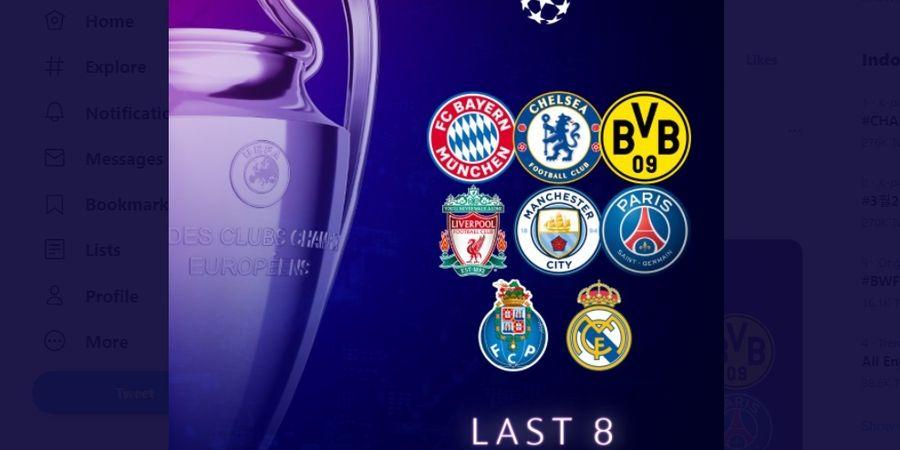 Hasil Liga Champions - Ini 8 Klub yang Melangkah ke Perempat Final