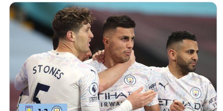 Hasil Liga Inggris - Diwarnai Gol Kilat dan Dua Kartu Merah, Man City Taklukkan Aston Villa