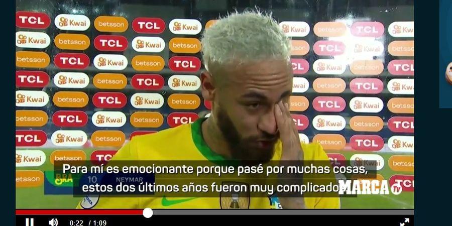 Dekati Rekor Pele di Timnas Brasil, Neymar Menangis ketika Wawancara