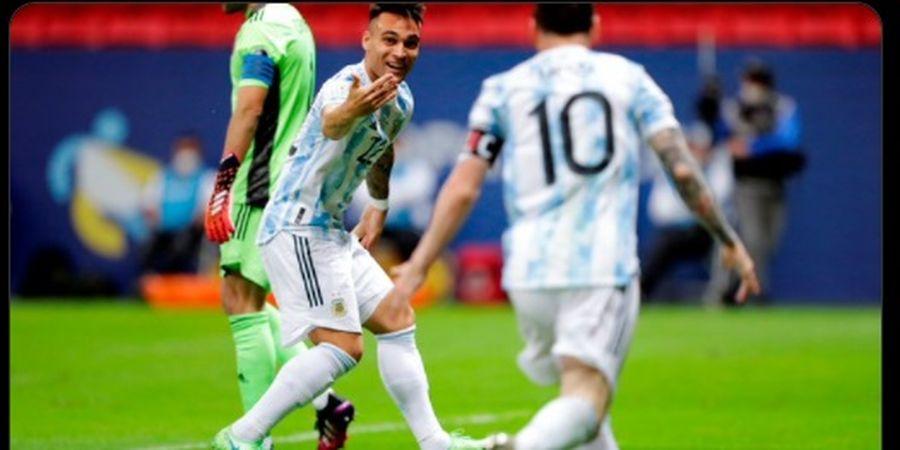 Hasil Babak I Copa America 2021 - Lionel Messi Bikin Assist untuk Gol Lautaro Martinez, Argentina Ungguli Kolombia 1-0