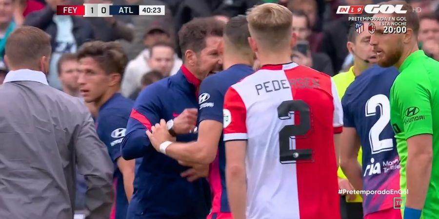 Hasil Pramusim Atletico Madrid - Yannick Carrasco Tendang hingga Cakar Pemain Lawan, Diego Simeone Marah Sampai Masuk Lapangan