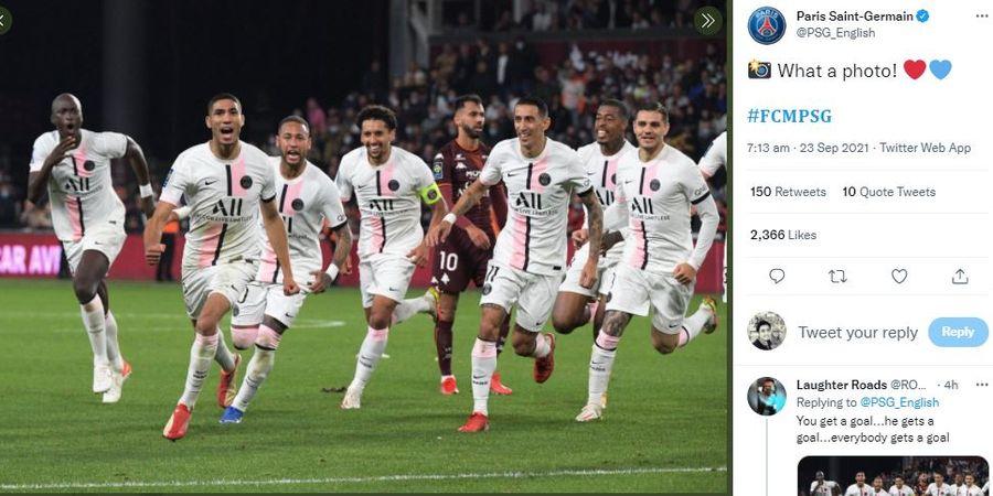 Demi Lindungi Kylian Mbappe, Neymar Dorong Kiper Metz hingga Jatuh Saat Rayakan Gol Kemenangan PSG