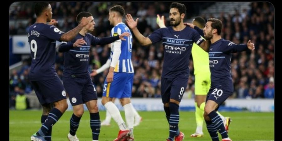 Hasil Liga Inggris - 5 Gol Tercipta, Manchester City Sikat Habis Brighton & Hove Albion