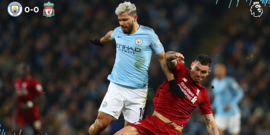 Manchester City Vs Liverpool - Tendangan Geledek Aguero Bikin Alisson Becker Pegang Jaring Agar Tak Jatuh