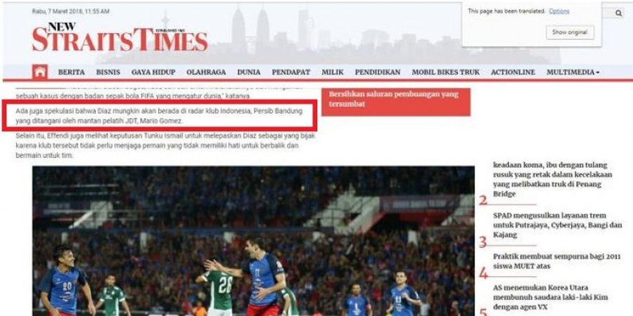 Media Malaysia Berikan Spekulasi Soal Nasib Jorge Pereyra Diaz, Sebut Nama Mario Gomez dan Persib Bandung