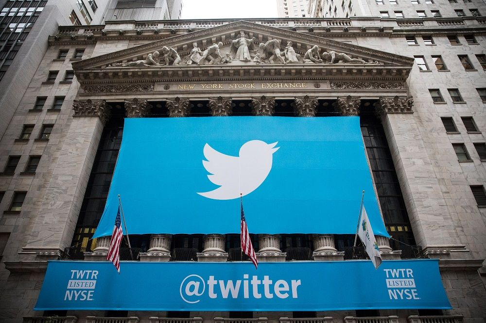 NEW YORK, NY - NOVEMBER 07:  The Twitter logo is displayed on a banner outside the New York Stock Ex