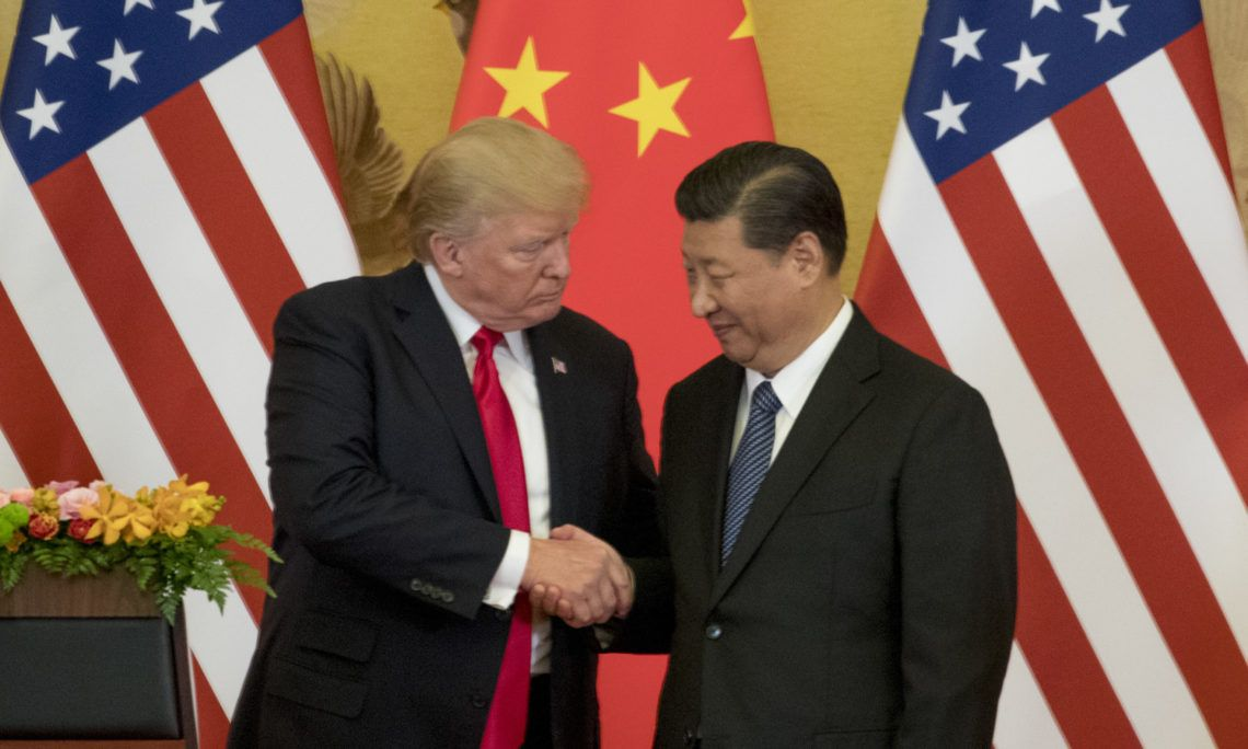 President Donald Trump and Chinese President Xi Jinping shake hands during a joint statement to members of the media Great Hall of the People, Thursday, Nov. 9, 2017, in Beijing, China. Trump is on a five country trip through Asia traveling to Japan, South Korea, China, Vietnam and the Philippines. (AP Photo/Andrew Harnik)