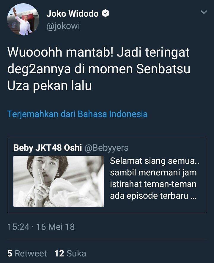Cuitan Presiden Jokowi terkait JKT 48