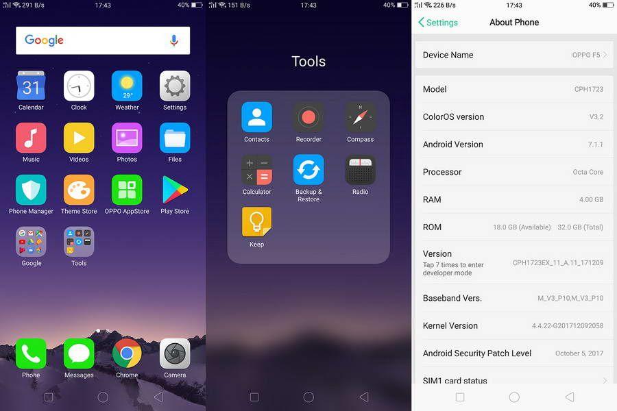 ColorOS 3.2 berbasis Android 7.1.1 (Nougat) memiliki tampilan yang sederhana dan mudah digunakan.