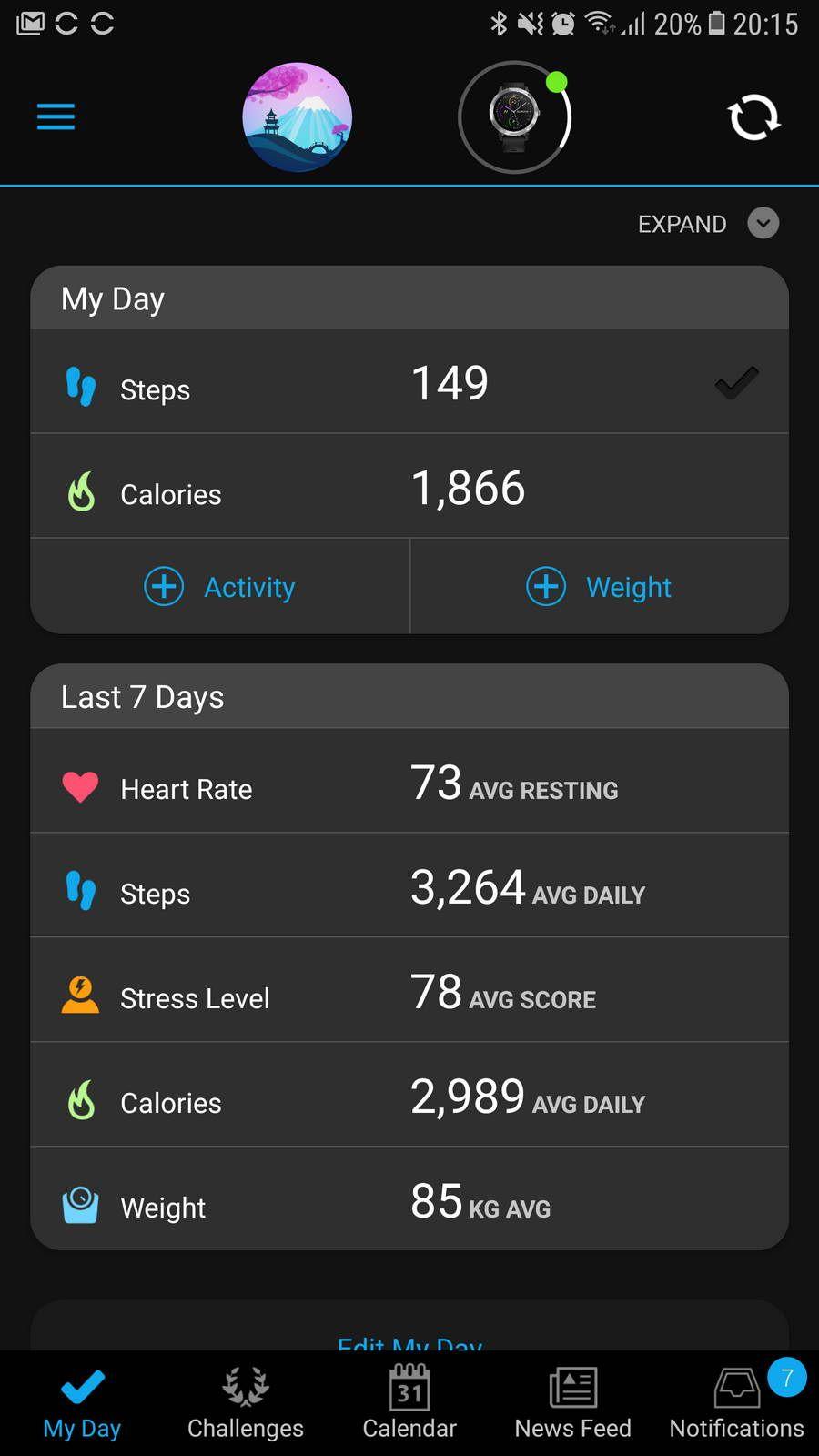 Aplikasi Garmin Connect memberikan informasi lengkap mengenai ringkasan kegiatan yang terekam oleh vívoactive 3.