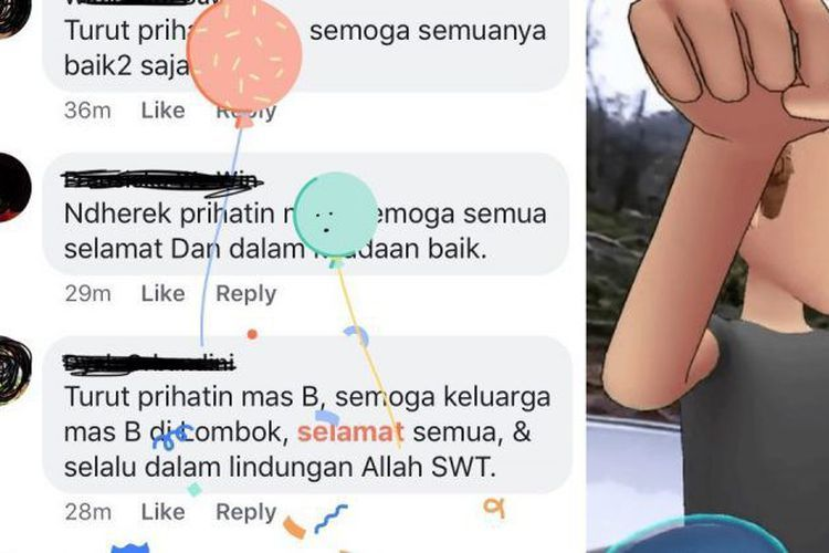 Facebook Kirimkan ucapan selamat dan balon terkait Gempa Lombok