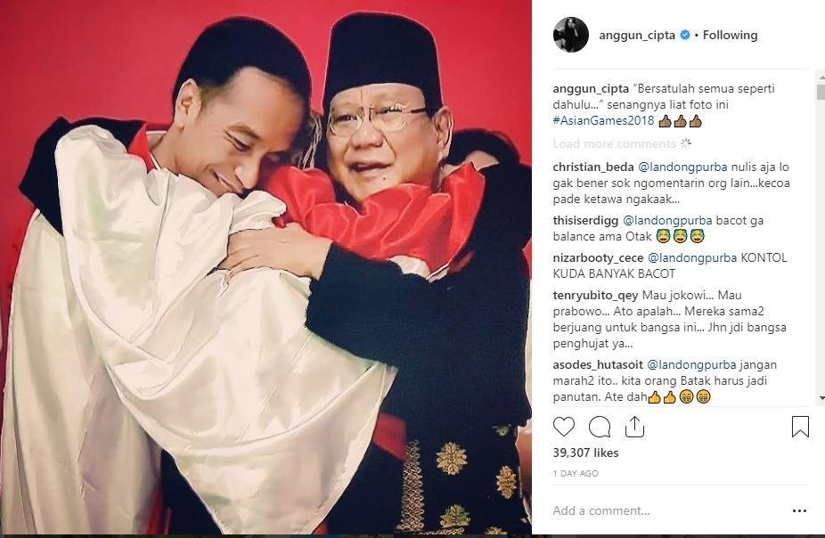 Tuai Kritik Karena Unggah Foto Pelukan Jokowi Prabowo Anggun C