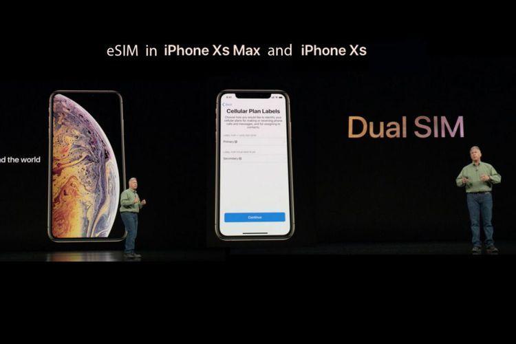 Ilustrasi e-SIM pada iPhone XS