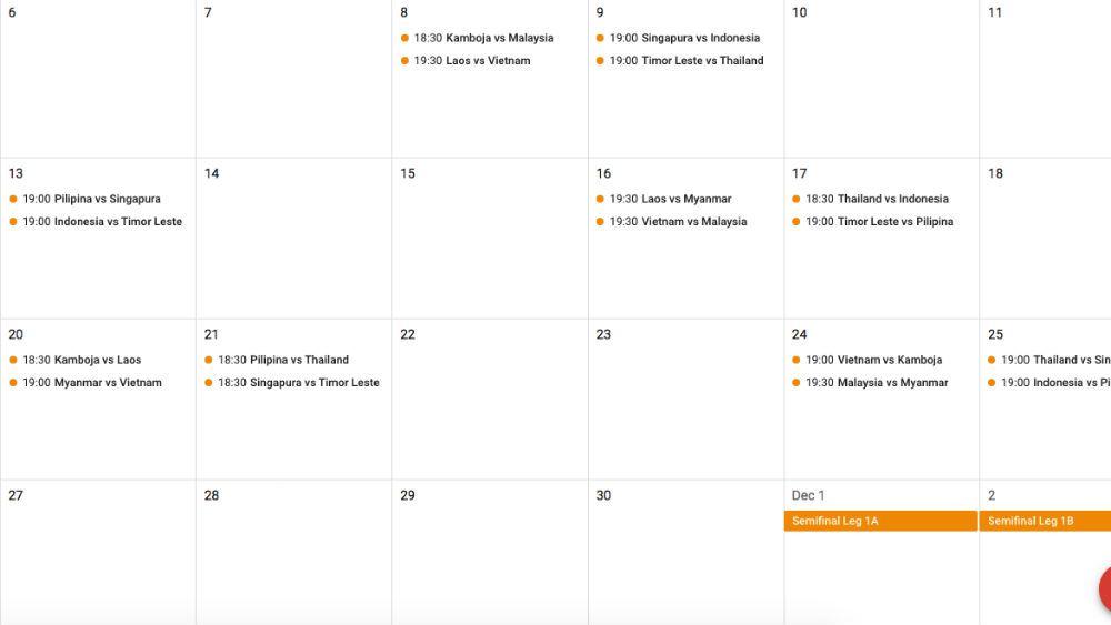 Jika kalender jadwal AFF 2018 sudah ditambahkan, kalender Anda akan memiliki tampilan seperti ini