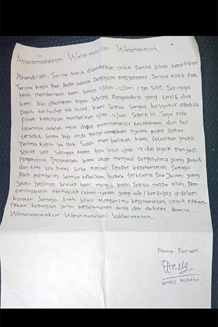 Viral Seorang Pemuda Tulis Surat Ucapan Terima Kasih Untuk Polisi Setelah Lulus Tes Dan Dapat Sim Semua Halaman Grid Id