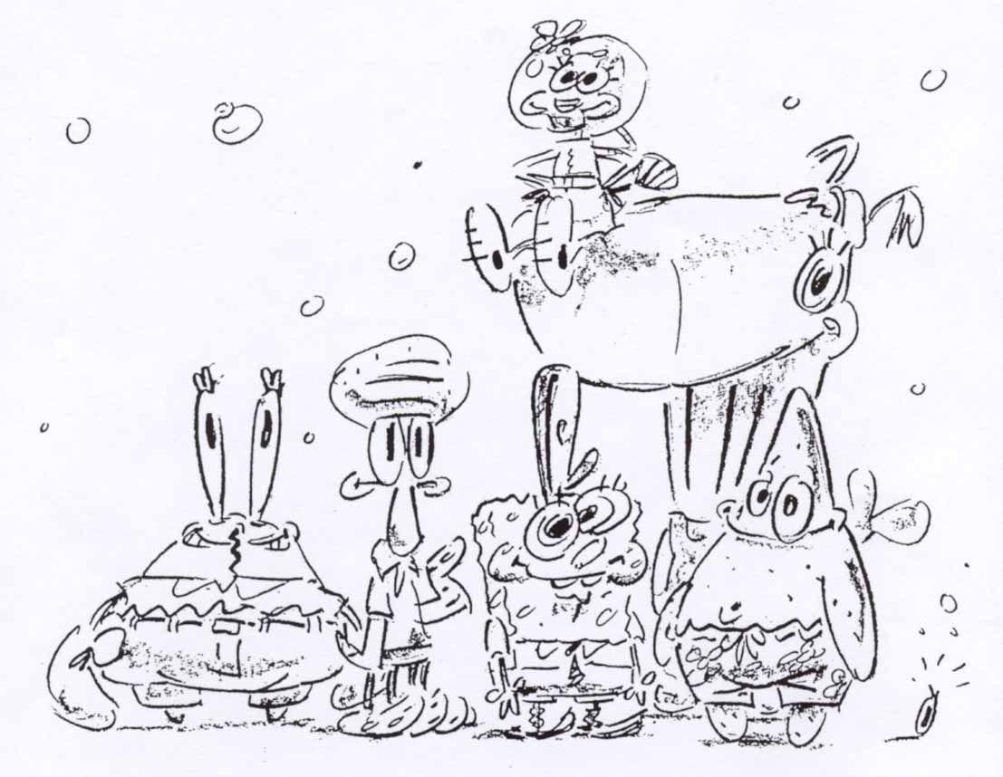 Sketsa Asli Desain Karakter Di Kartun SpongeBob Dari Sang