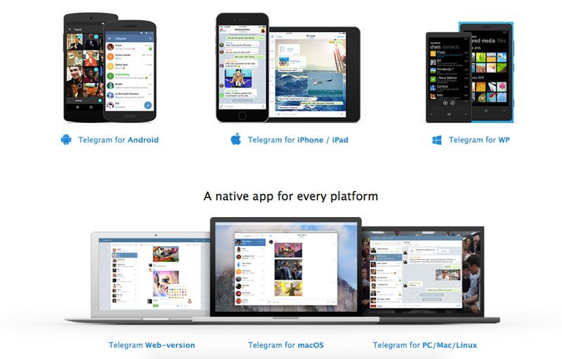 Platform yang mendukung Telegram Messenger