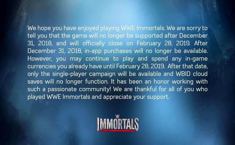 WWE Immortals Shutdown