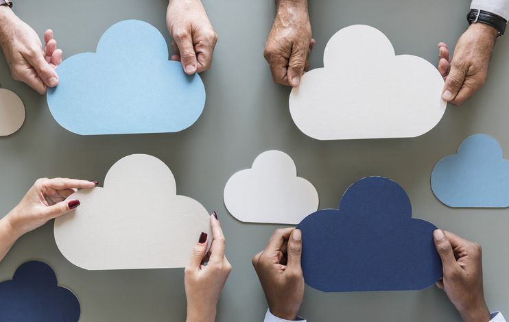 Cloud network storage isolated on gray background