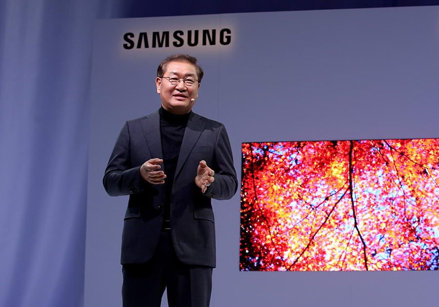 at the Samsung First Look Event during the Consumer Electronics Show on Sunday, January 6, 2018 in Las Vegas. (Danny Moloshok/AP Images for Samsung)