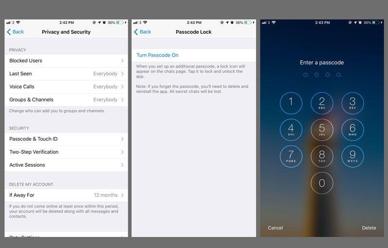 Cara mengunci Telegram Messenger di iOS 12