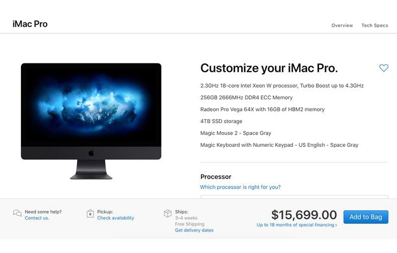 Custom order iMac Pro