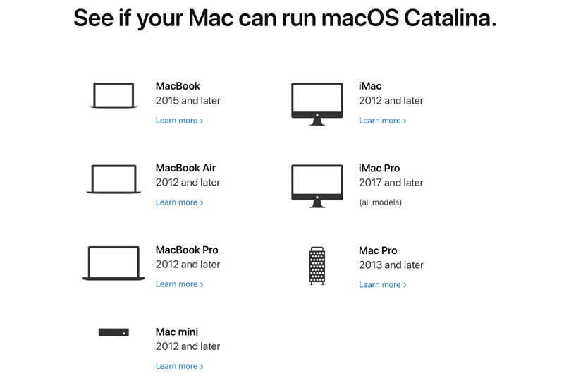 Komputer Mac yang mendukung macOS Catalina
