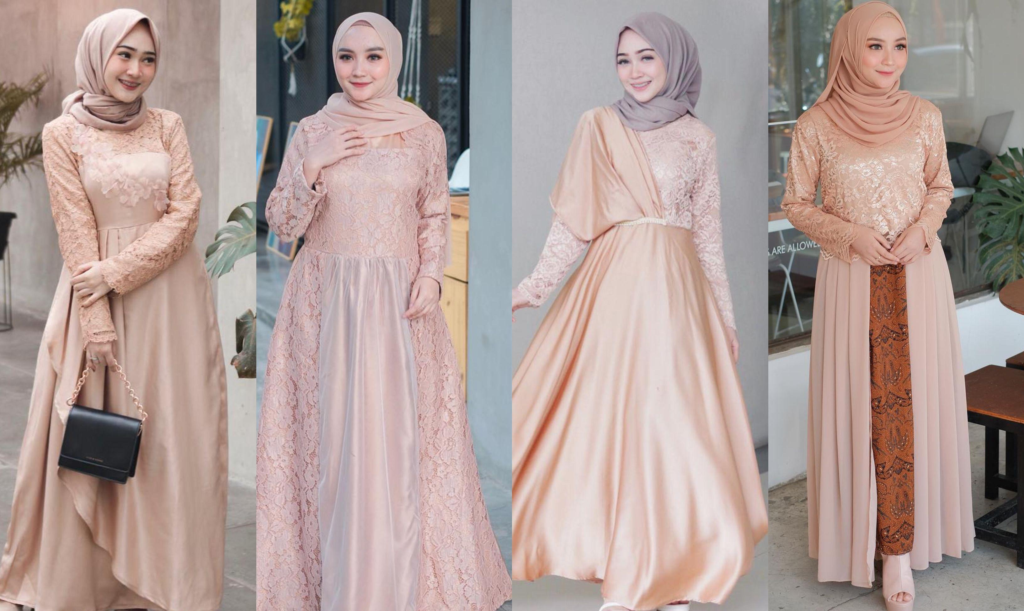 11 Model Kebaya Dress Hijab Warna Mocca Buat Gaya Kondangan yang