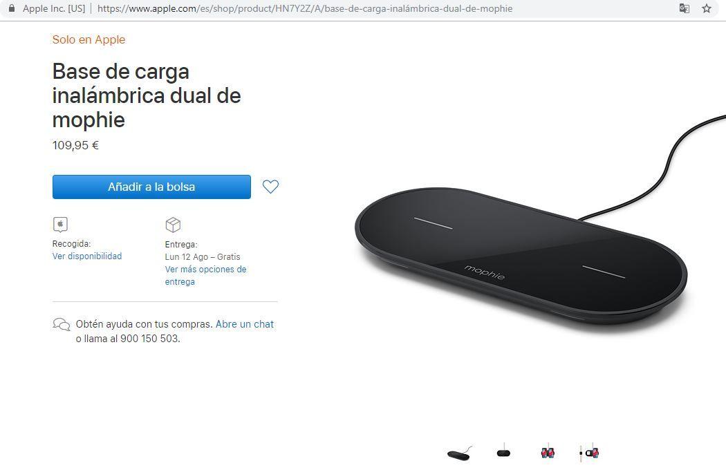 Mophie Dual Charging Base di Apple's Latin America online store