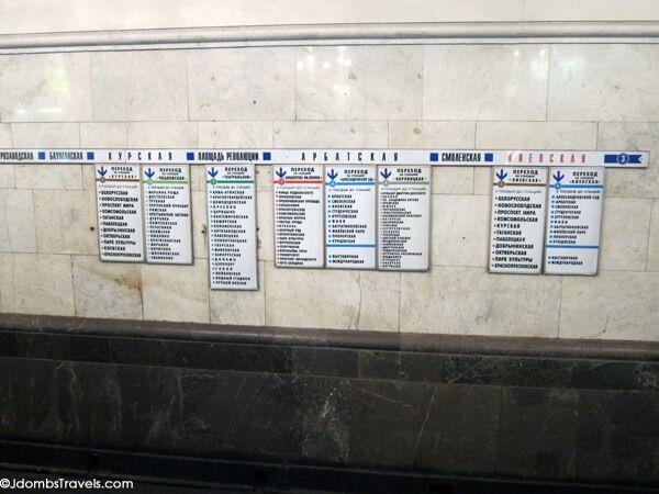 Petunjuk di stasiun Rusia