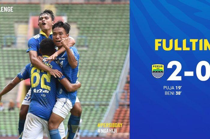 Para pemain Persib  Bandung merayakan gol ke gawang Hanoi FC dalam turnamen Asia Challenge 2020 di Stadion Shah Alam, Selangor, Malaysia, Minggu (19/1/2020).