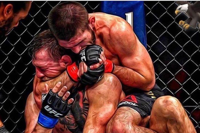 Khabib Nurmagomedov vs Conor McGregor dalam duel UFC 229.