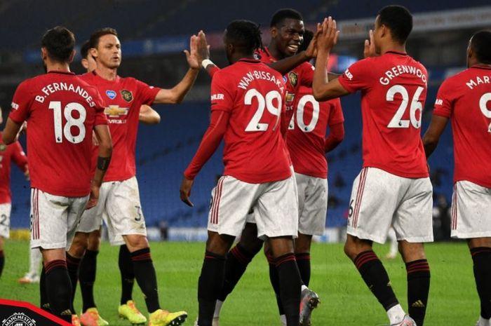 Manchester United meraih kemenangan 3-0 di kandang Brighton & Hove Albion, AMEX Stadium, dalam lanjutan Liga Inggris, 30 Juni 2020.