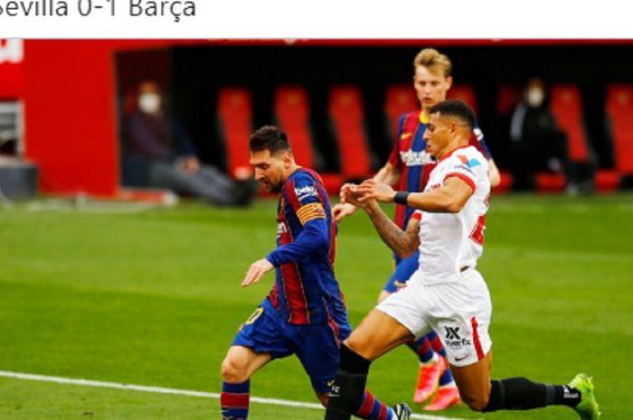 Megabintang Barcelona, Lionel Messi, ditempel ketat bek tengah Sevilla, Diego Carlos, dalam laga pekan ke-25 Liga Spanyol di Stadion Ramon Sanchez Pizjuan, Sabtu (27/2/2021).