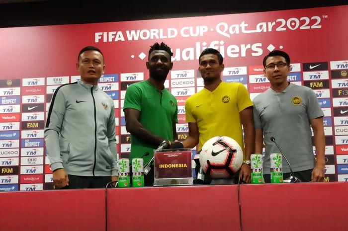 Jumpa pers jelang pertandingan timnas Malaysia vs timnas Indonesia di Stadion Bukit Jalil, Kuala Lumpur, Malaysia, Selasa (18/11/2019).
