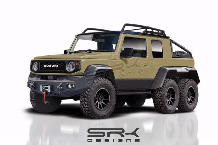 Seperti ini tampilannya kalau Suzuki Jimny dimodifikasi dengan enam rodda