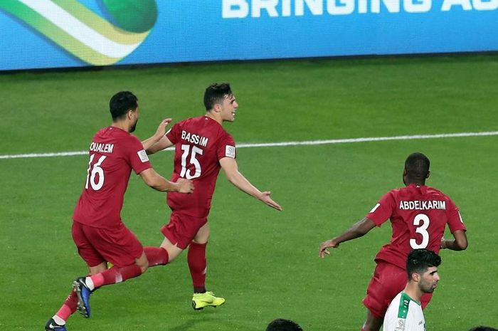 Bassam Al-Rawi mencetak gol penentu kemenangan timnas Qatar atas Irak pada Piala Asia 2019